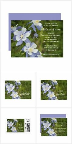 Blue Columbine Wedding Stationery  Set a natural tone for your Colorado state marriage with the pretty Blue Columbine Wedding Stationery Collection.Choose from custom Blue Columbine wedding invitations, save the date announcements, thank you notes and postage stamps to create a coordinated nuptial stationery set. Each customizable product features a digitally painted floral photograph of blue and white columbine flower blossoms with a green woodland background. #coloradowedding…