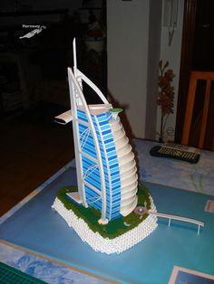 A scale model I made of the hotel Burj Al Arab (Dubai). It had the details of the restaurant, the heliport, and the steel rocks represented by bolts. I had a great time making it. Burj Al Arab, Hotel Dubai, Lego Architecture, Burj Khalifa, My Arts, Scale Model, Rocks, Restaurant, Steel