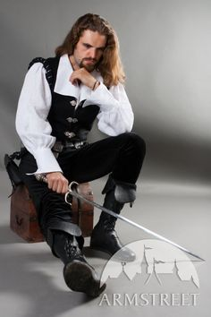 """I'd take one of these - And the costumes pretty nice too.  SALE Renaissance Medieval Noble Men's Shirt and Vest Set """"Chevalier"""""""