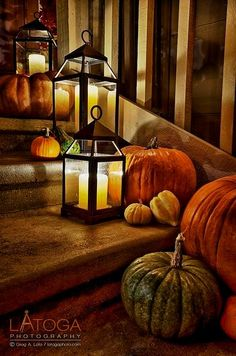 Autumn front steps decorations.