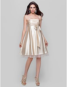 TS+Couture+Cocktail+Party+Homecoming+Prom+Dress+-+Short+A-line+Princess+Spaghetti+Straps+Knee-length+Tulle+Stretch+Satin+withBow(s)+–+USD+$+300.00