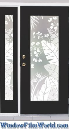 Bring your favorite tropical getaway home with the Tropical Oasis privacy window film. The lush tropical foliage has varying degrees of white printed on a Lite Frosted background giving the tropical l Window Privacy, Glass Etching, Etched Glass, Window Films, Tropical Decor, Glass Design, Window Coverings, French Doors, Home Projects