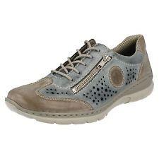 Ladies Rieker Blue Combination Leather Lace Up MemoSoft Shoes