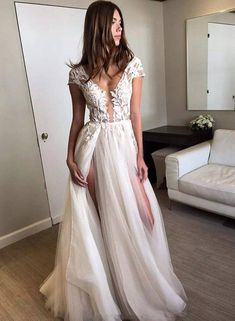 Custom made lace tulle long prom dress, lace evening dress