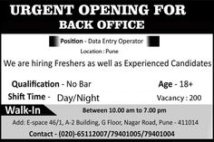 Back Office Walk In @Pune