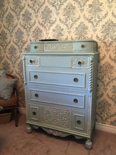 Alternatively Yours : Anthes-Baetz 5 Drawer Chest painted in General Finishes Linen and Persian Blue milk paint