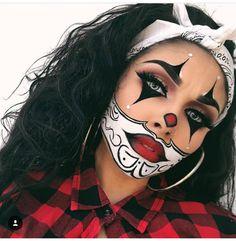 43 Trendy Clown Makeup Ideas for Halloween 2019 - Make-Up Ideas Maquillage Halloween Clown, Halloween Makeup Clown, Gruseliger Clown, Halloween Makeup Looks, Halloween Kostüm, Cute Clown Makeup, Halloween Costumes, Face Paint For Halloween, Beautiful Halloween Makeup