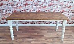 Handmade farmhouse style kitchen dining tables, made from rustic reclaimed timber. Pine Dining Table, Dining Table In Kitchen, Farmhouse Style Kitchen, Rustic Farmhouse, Reclaimed Wood Dining Table, Reclaimed Timber, Home Decor, Image, Decoration Home