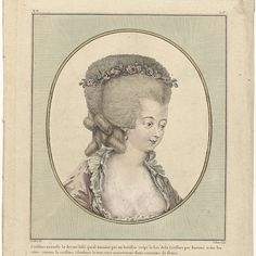 Bust woman with deep cleavage, in oval. Coiffure, where the hair is combed back smooth, scalloped top has been cut off as hérisson 'and to the rear and side curls like the hair style à l'enfance. The whole is adorned with a crown of flowers. Earring in the right ear. Print from the series oo. Costumes 38th Cahier des Français, 9th Suite des Coeffures à la mode and 1781, Gallerie des Modes et Costumes Français.