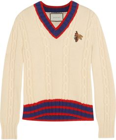 Gucci Appliquéd cable-knit wool sweater