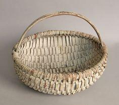 Splint oak basket, 19th c., in an old white paint