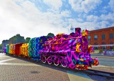 Yarn bombed train- wow.