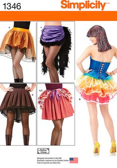 Bustle Skirt - Saloon Costume - Tutu Skirt - Penny Dreadful Costumes - Simplicity 1346 - Steampunk Costumes - sz 6 to 14