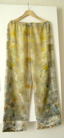 Women's pants with georgette - satin finisz  eco dyeing - dyed plants without the use of chemical fixatives - eco dyeing, eco printing, hand made, pants