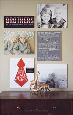 Mixing Prints and Photos by Kiki and Company. Cute idea for a boys room.
