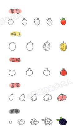 How to draw a variety of fruits 8, chrysanthemum people grow up from a matrix @