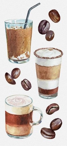 coffee pictures Watercolor Coffee and Ice Cream by Lyubov Shevchenko. Coffee art painting with coffee types. This coffee art drawing will make your day brighter. Check out this cozy coffee pictures and iced coffee aesthetic. Watercolor Food, Watercolor Art Paintings, Simple Watercolor, Tattoo Watercolor, Watercolor Trees, Watercolor Animals, Watercolor Background, Watercolor Landscape, Abstract Watercolor