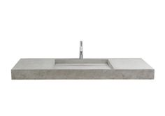 LAZARUS – robust basin with hidden drain and concrete or metal inlay. Basin mounted on counter or cantilever.  Size: L:150cm W:50cm H:12cm