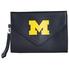 Gibson Michigan Wolverines Gibson Clutch Wallet (Black) ($17) ❤ liked on Polyvore featuring bags, wallets, black, clear bags, vegan leather wallet, black clutch wallet, vegan bags and black bag