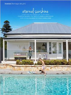 Homes: Eternal sunshine. A light and airy cottage on the Victorian coastline inspired one family to make a sea change. - clipped from page 94 of Home Beautiful, Jan 2014 issue by the Netpage app. Facade Design, House Design, Kitchen Window Bar, Glass Pool Fencing, Pool Fence, Indoor Outdoor, Outdoor Living, Eternal Sunshine, Property Design