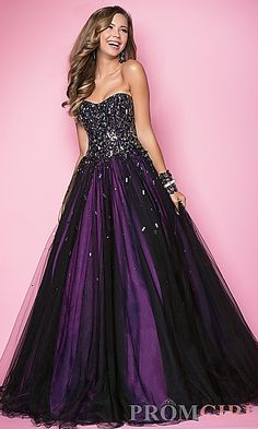 Long Strapless Beaded Ball Gown at PromGirl.com Hohn love this one!!!!