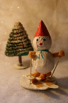 Vintage 1960s Christmas Snowman Skier Decoration