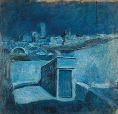 Azoteas de Barcelona de Picasso (qué deliciosa la época azul de Picasso, y qué mágico cuadro)