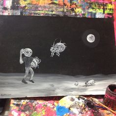 #Pop #goth #gothic #art #painting #bee#space#black#white#14x22 #griffin #gregg#gregggriffin