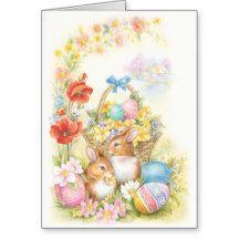Nostalgic easter chicks greeting card
