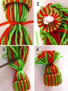 Yarn Hat Ornament made with Recycled Toilet Paper Rolls Craft Tutorial