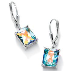 7.60 TCW Emerald-Cut Aurora Borealis Cubic Zirconia Sterling Silver Drop Earrings