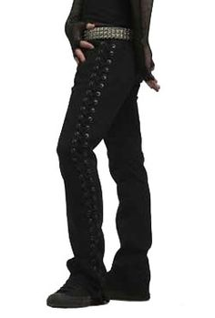 Lace-up Rocker Fit Pants - Mens gothic, industrial and cyber pants.