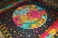 Zodiac Indian Throw Art Tapestry Wall Hanging Hippie Astrology Mandala Bedspread #Handmade #BedspreadTapestry Tapestry Wall Hanging, Bedspread, Astrology, Zodiac, Mandala, Boho, Handmade, Tapestries, Quilt Cover