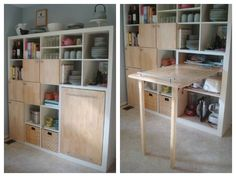 9 Ingenious Small Kitchen Storage Ideas: A Storage System That Packs a Small Kitchen Table. Here's a great Ikea hack that whips up kitchen storage. Hidden Kitchen, Small Kitchen Storage, Extra Storage, Hidden Desk, Kitchen Small, Ikea Hackers, Table Storage, Storage Cabinets, Storage Ideas