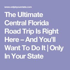 The Ultimate Central Florida Road Trip Is Right Here – And You'll Want To Do It   Only In Your State