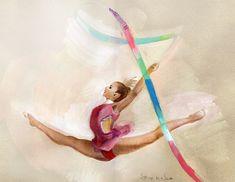 Kate by Strekosa Design Ballet Drawings, Dancing Drawings, Yoga Illustration, Gymnastics Posters, Girly M, Girl Drawing Sketches, Rhythmic Gymnastics Leotards, Dance Poses, Dance Art