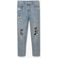 MANGO Relaxed Tina Jeans ($80) ❤ liked on Polyvore featuring jeans, destruction jeans, destructed jeans, mango jeans, ripped jeans and destroyed jeans