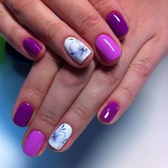 Everyday nails, Extravagant nails, flower nail art, Nails ideas 2016, Nails trends 2016, overflow nails, Purple nails, ring finger nails
