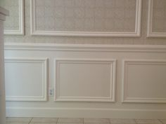 "This classical style wainscoting is applied with a 3/8"" back panel, then a 2 5/8 inch panel molding is added for a very elegant look! The chair rail is 3 1/2 inches wide, and the base molding is 5"" tall. This style wainscoting is very popular anywhere in your home. Up to 42"" high"