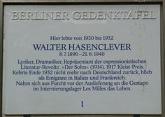 Memorial of Watler Hasenclever  Exiled by the Nazis