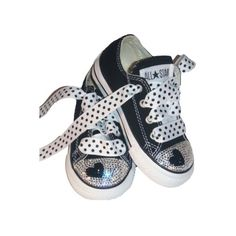 Swarovski Black Heart Bling Converse Shoes, bling kids sneakers ($103) ❤ liked on Polyvore featuring baby, baby girl, kids, shoes and baby shoes
