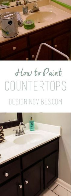 How to Paint Cultured Marble Countertops - DIY Tutorial painting bathroom countertops Painting Bathroom Countertops, Countertop Makeover, Diy Countertops, Bathroom Marble, Vanity Countertop, Painting Bathroom Sinks, Diy Marble, Countertop Paint, Bathroom Yellow