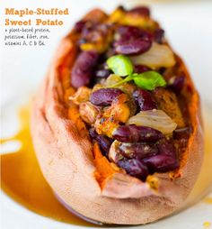 Flavorful, colorful, and downright delicious: - Maple Tempeh-Bacon Chili Beans for Stuffed Sweet Potatoes