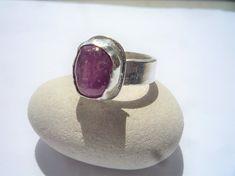 Sterling silver ring,Ruby gemstone ring, Rough raw Ruby ring, Organic ring, Organic jewelry, Handcrafted sterling silver gemstone ring.