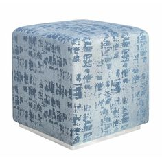 Ivy Bronx Azura Cube | Wayfair Kent Blue, Blue Texture, Leather Pouf, Pouf Ottoman, Art Deco Design, Fabric Swatches, Fabric Design, Velvet, Handmade