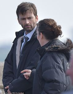 One last time: The Broadchurch cast were back to business as they continued filming for the show's third and final series