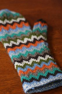 They may look complicated, but these colorwork mittens are a breeze to knit! Only two colors are in play at one time, and the Chevron pattern is an easy 6 stitch repeat. Work them in as few as two colors, or so many they never repeat!