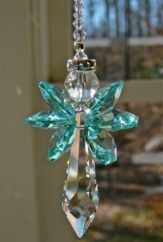 "Crystal Angel with Teal Wings Swarovski Crystal Suncatcher 6.5"" Grace 