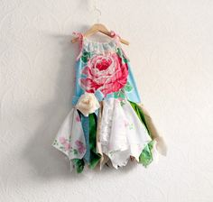 Floral Print Shabby Chic Rose Toddler Dress by BrokenGhostClothing,