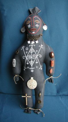 Voodoo Doll Ayizan Handsewn Handpainted Hoodoo Art Doll Stuffed With Herbs For Healing Made to Order.